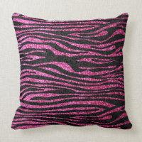 Pink and Black Zebra Print bling (faux glitter) Pillows