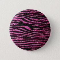 Pink and Black Zebra Print bling (faux glitter) Pinback Button
