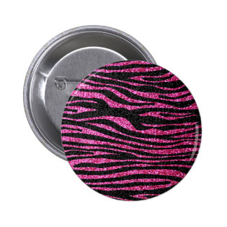 Pink and Black Zebra Print bling (faux glitter) Pinback Button