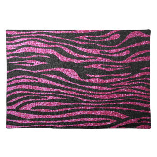 Pink and Black Zebra Print bling (faux glitter) Placemat