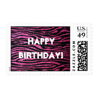 Pink and Black Zebra Print bling (faux glitter) Postage