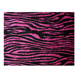 Pink and Black Zebra Print bling (faux glitter) Post Cards