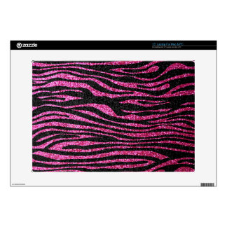 "Pink and Black Zebra Print bling faux glitter Skins For 15"" Laptops"