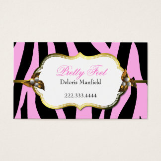 Pink and Black Zebra Print Business Card