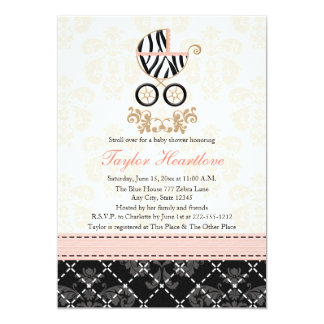 Pink and Black Zebra Print Carriage Baby Shower Card