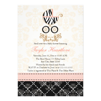 Pink and Black Zebra Print Carriage Baby Shower Invitation