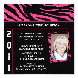 Pink and Black Zebra Print Graduation Invitation