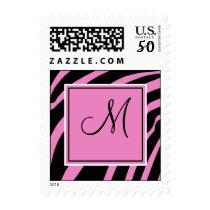 Pink and Black Zebra Print Monogram Postage