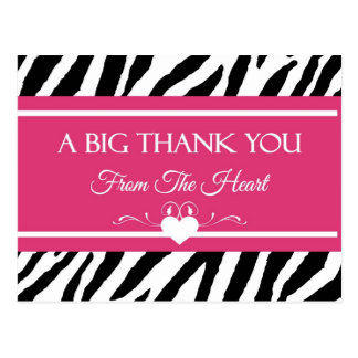 Pink and Black Zebra Print Thank You From Heart Postcard