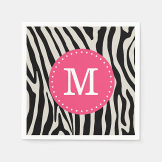 Pink and Black Zebra Stripe Custom Monogram Standard Cocktail Napkin