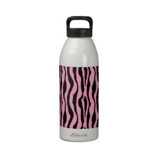 Pink and Black Zebra Stripe Reusable Water Bottle