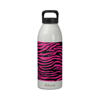 pink and black zebra stripe water bottles