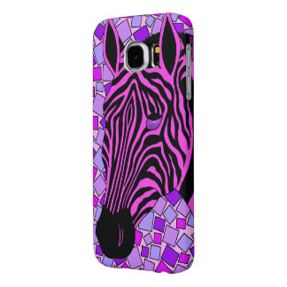 Pink And Black Zebra Stripes Mosaic Colorful Samsung Galaxy S6 Cases