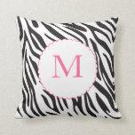 Pink and Black Zebra Stripes Pillow