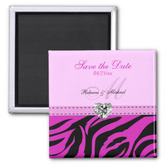 Pink and Black Zebra Stripes Save the Date Magnets