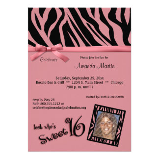 Pink And Black Zebra Stripes Sweet 16 Party Invite