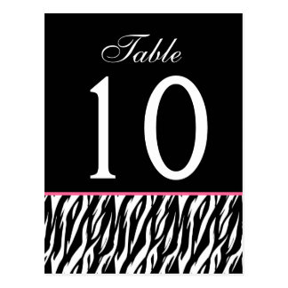 Pink and Black Zebra Ver. 2 Wedding Table Number Postcard