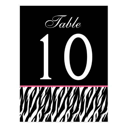 Pink and Black Zebra Ver. 2 Wedding Table Number Post Cards