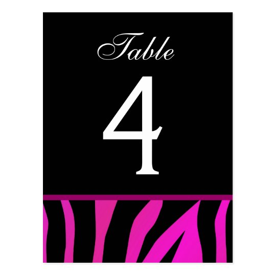 Pink and Black Zebra Wedding Table Number Card