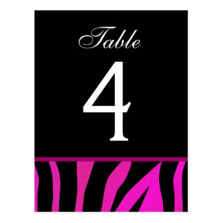 Pink and Black Zebra Wedding Table Number Card Postcards