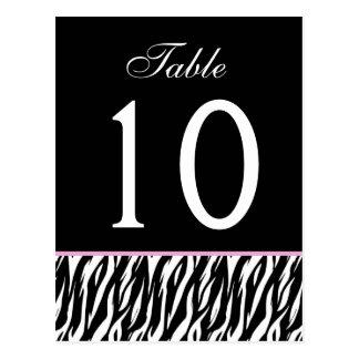Pink and Black Zebra  Wedding Table Number Card V1 Postcard