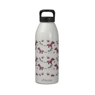Pink and Black Zebras Reusable Water Bottle