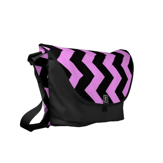 Pink and Black Zigzag Messenger Bag