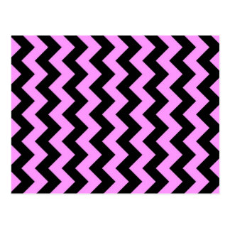 Pink and Black Zigzag Postcard