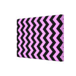 Pink and Black Zigzag Stretched Canvas Prints