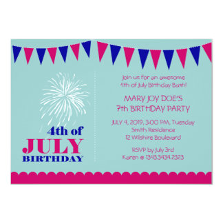 Pink and blue 4th of July Birthday Bash Card