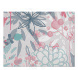 Pink and Blue Abstract Flowers Pattern Posters