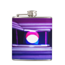 Pink and Blue Abstract Light Painting Hip Flask