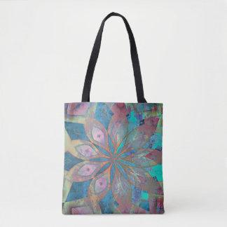Pink and Blue Abstract Mandala Tile Tote Bag