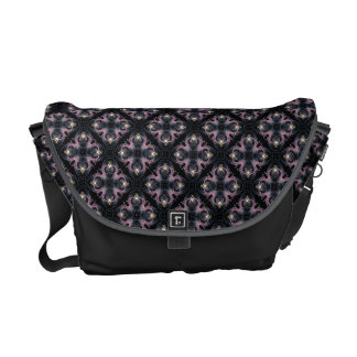 Pink And Blue Abstract Pattern On Black Courier Bag