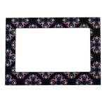 Pink And Blue Abstract Pattern On Black Magnetic Photo Frame