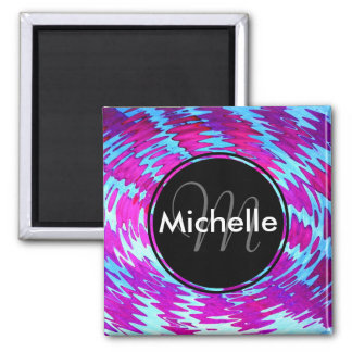 Pink and Blue Abstract Watercolors Design 2 Inch Square Magnet