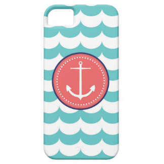 Pink and Blue Anchor with Waves Pattern iPhone 5 Cover