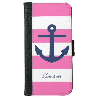 Pink and Blue Anchors Aweigh iPhone 6 Wallet Case