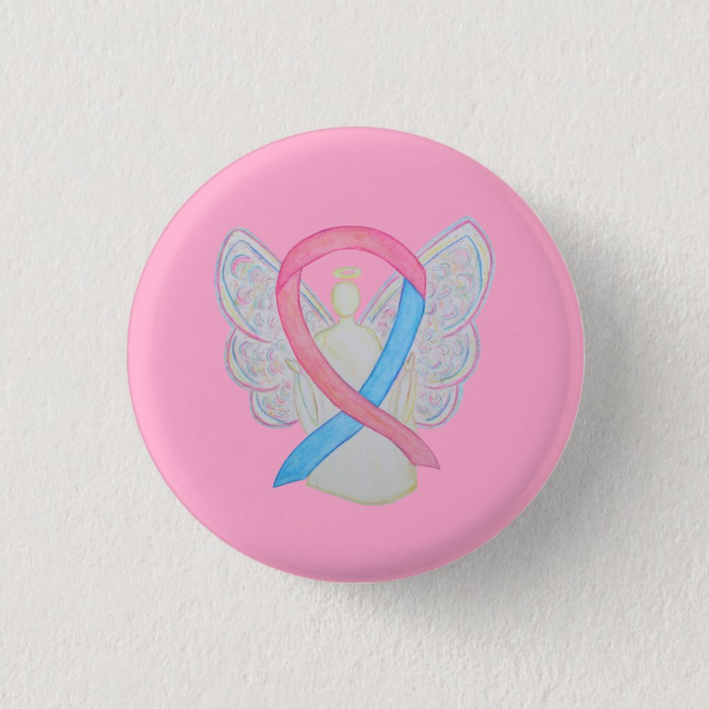 Pink and Blue Angel Male Breast Cancer Awareness Ribbon Custom Pins