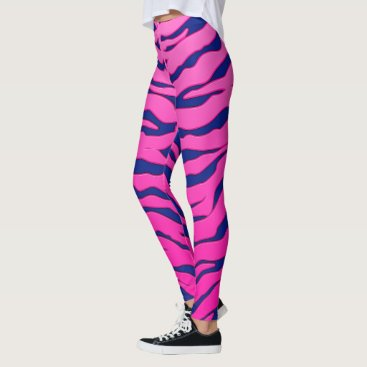 Beach Themed Pink And Blue Animal Tigers Stripes Leggings