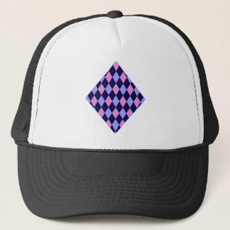 Pink And Blue Argyle Trucker Hat