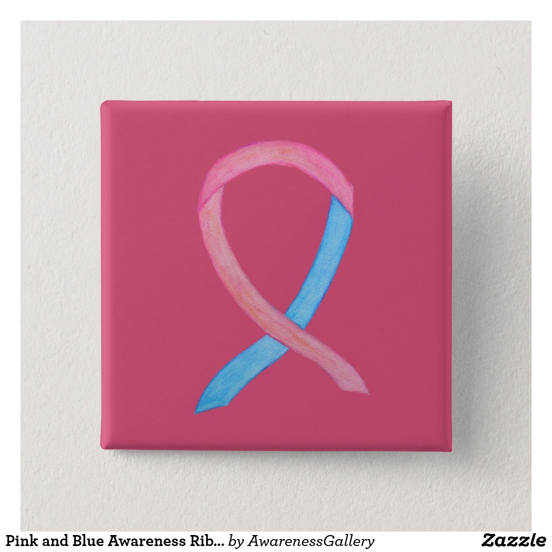 Pink and Blue Male Breast Cancer Awareness Ribbon Custom Pins