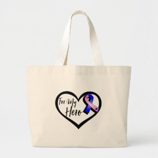 Pink and Blue Awareness Ribbon For My Hero Large Tote Bag