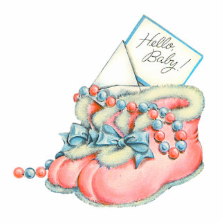 Pink and Blue Baby Booties Baby Shower Statuette