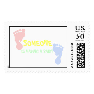Pink and Blue Baby Footprints Personalized Stamps