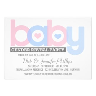 Pink and Blue Baby Gender Reveal Party Invitation