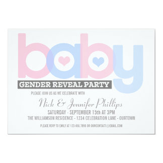 Pink and Blue Baby Gender Reveal Party Invitation Invite