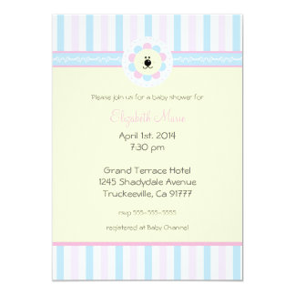 Pink and Blue-Baby Shower- 5x7 Paper Invitation Card