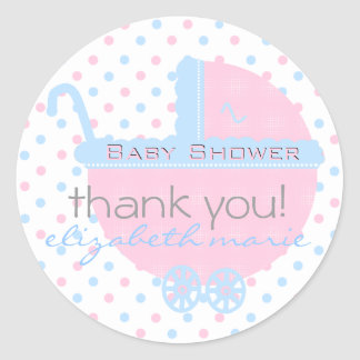 Pink and Blue-Baby Shower Favor Classic Round Sticker