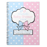 Pink and Blue Baby Shower Guest Book- Spiral Notebook
